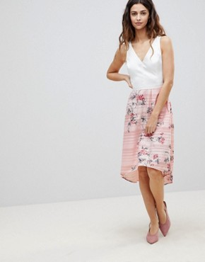 photo 2-In-1 Midi Dress with Floral Skirt by Oasis, color Pink Floral - Image 1