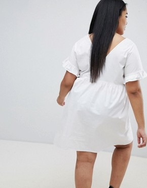 photo V-Front V-Back Mini Cotton Smock Dress by ASOS DESIGN Curve, color White - Image 2