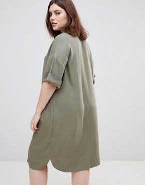 photo Short Sleeve Shirt Dress with Drape Pockets by ASOS DESIGN Curve, color Khaki - Image 2