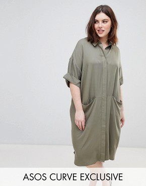 photo Short Sleeve Shirt Dress with Drape Pockets by ASOS DESIGN Curve, color Khaki - Image 1