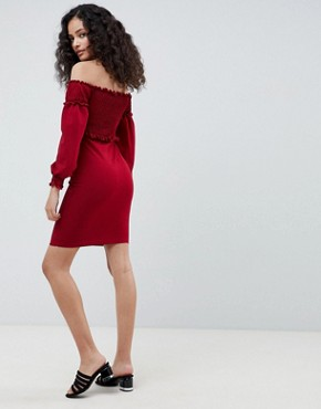 photo Off Shoulder Dress with Ruching Detail by Parisian, color Wine - Image 2