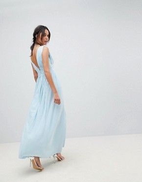 photo Lace Insert Pleated Maxi Dress by ASOS DESIGN Premium, color Blue - Image 2
