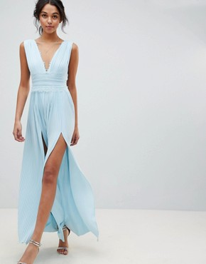 photo Lace Insert Pleated Maxi Dress by ASOS DESIGN Premium, color Blue - Image 1
