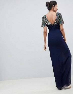 photo Ariann Embellished Maxi Dress with Frill Wrap Skirt by Virgos Lounge Tall, color Navy - Image 2