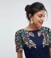 photo Ariann Embellished Maxi Dress with Frill Wrap Skirt by Virgos Lounge Tall, color Navy - Image 3