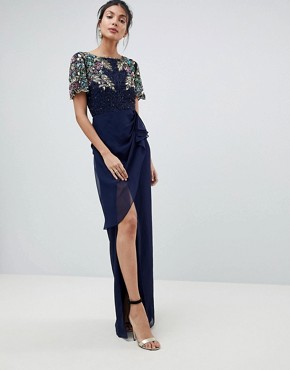 photo Ariann Embellished Maxi Dress with Frill Wrap Skirt by Virgos Lounge Tall, color Navy - Image 4