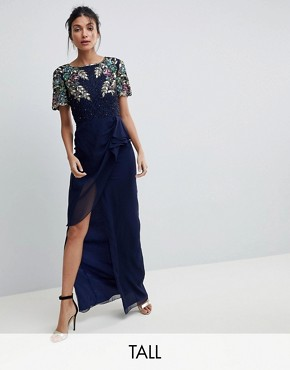 photo Ariann Embellished Maxi Dress with Frill Wrap Skirt by Virgos Lounge Tall, color Navy - Image 1