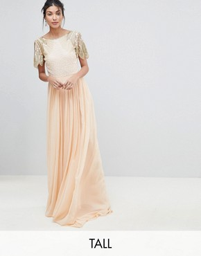 photo Lena Maxi Dress with Embellishment by Virgos Lounge Tall, color Nude - Image 1