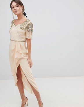 photo Laila Embellished Midi Dress with Thigh Split Detail by Virgos Lounge, color Nude - Image 1