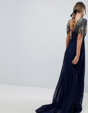photo Lena Maxi Dress with Embellishment in Navy by Virgos Lounge, color Navy - Image 2