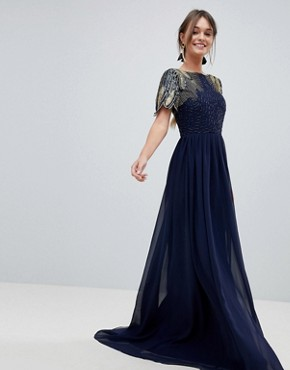 photo Lena Maxi Dress with Embellishment in Navy by Virgos Lounge, color Navy - Image 1