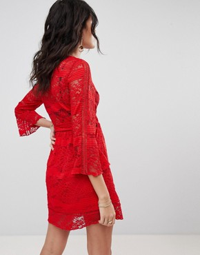 photo Lace Wrap Dress by Ebonie n Ivory, color Red Wrap Dress - Image 2