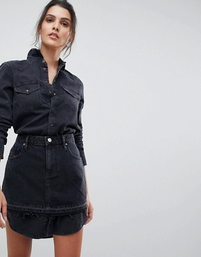 photo Denim Shirt Dress with Skirt Overlay by Diesel, color Black - Image 1