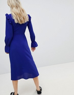 photo Midi Tea Dress with Gathered Sleeves by Wednesday's Girl, color Blue - Image 2