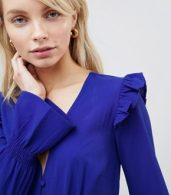 photo Midi Tea Dress with Gathered Sleeves by Wednesday's Girl, color Blue - Image 3