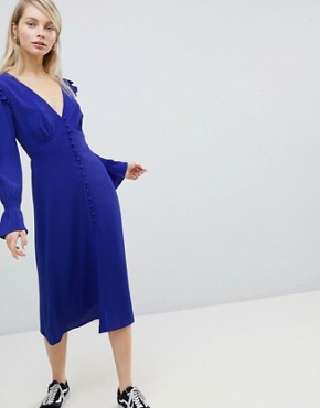 photo Midi Tea Dress with Gathered Sleeves by Wednesday's Girl, color Blue - Image 1