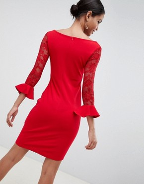 photo Pleated Midi Dress with Lace Sleeves by City Goddess, color Red - Image 2