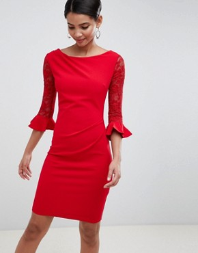 photo Pleated Midi Dress with Lace Sleeves by City Goddess, color Red - Image 1