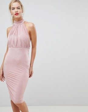 photo Pleated High Neck Dress by City Goddess, color Beige - Image 1