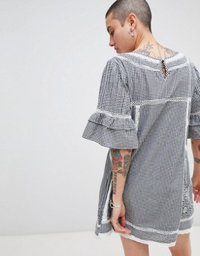 photo Sunny Day Embroidered Shift Dress by Free People, color Black - Image 2