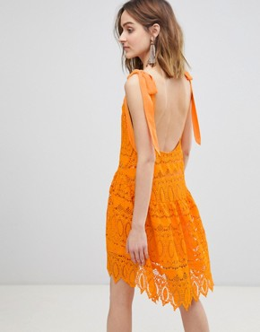 photo All Over Lace Cami Dress with Tie Straps by Vero Moda, color Sun Orange - Image 2
