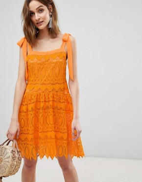 photo All Over Lace Cami Dress with Tie Straps by Vero Moda, color Sun Orange - Image 1