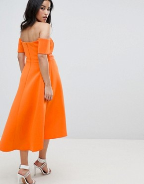 photo Maternity Bardot Pleated Waist Scuba Midi Prom Dress by ASOS DESIGN, color Orange - Image 2