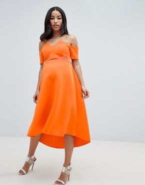 photo Maternity Bardot Pleated Waist Scuba Midi Prom Dress by ASOS DESIGN, color Orange - Image 1