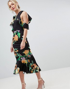 photo Floral Scuba Ruffle Cold Shoulder Pephem Midi Dress by ASOS DESIGN Tall, color Multi - Image 2
