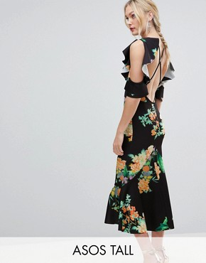 photo Floral Scuba Ruffle Cold Shoulder Pephem Midi Dress by ASOS DESIGN Tall, color Multi - Image 1