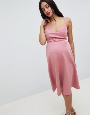 photo Maternity Scuba Cami Prom Midi Dress by ASOS DESIGN, color Mink - Image 1