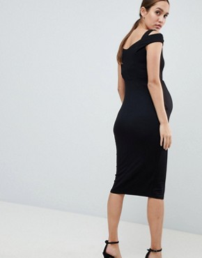 photo Maternity Bodycon Dress with Double Bardot Strap by ASOS DESIGN, color Black - Image 2