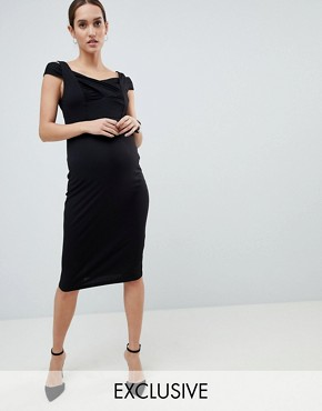 photo Maternity Bodycon Dress with Double Bardot Strap by ASOS DESIGN, color Black - Image 1