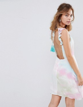 photo Cami Tea Dress with Lace Up & Tassel in Tie Dye by Sisters of the Tribe Petite, color Multi - Image 2