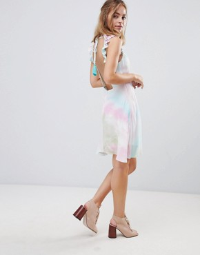 photo Cami Tea Dress with Lace Up & Tassel in Tie Dye by Sisters of the Tribe Petite, color Multi - Image 4