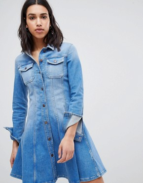 photo Denim Shirt Dress by Tommy Hilfiger, color Skylar Blue - Image 1