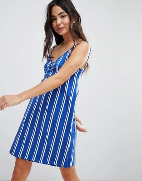 photo Wrap Beach Dress by Monki, color Blue Stripes - Image 1