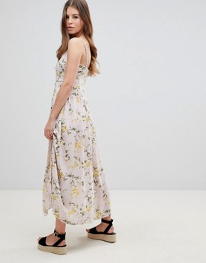 photo Button Through Drop Waist Casual Maxi Dress in Ditsy Floral Print by ASOS DESIGN, color Multi - Image 2