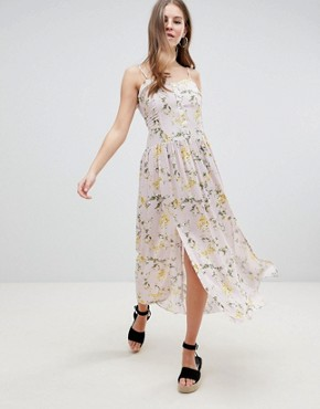 photo Button Through Drop Waist Casual Maxi Dress in Ditsy Floral Print by ASOS DESIGN, color Multi - Image 1