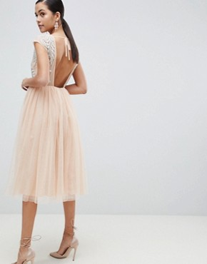 photo Embellished Open Back Tulle Midi Dress by ASOS DESIGN, color Nude - Image 2