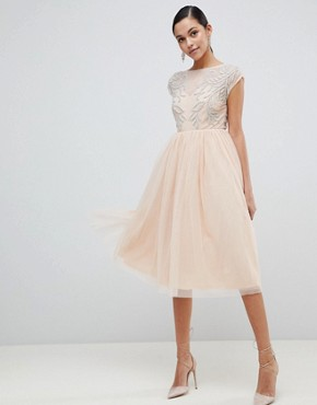 photo Embellished Open Back Tulle Midi Dress by ASOS DESIGN, color Nude - Image 1