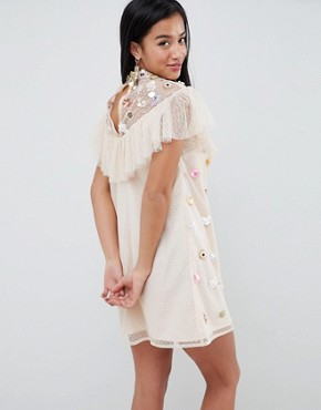 photo Lace Embellished Mini Dress by ASOS DESIGN Petite, color Nude - Image 2