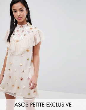 photo Lace Embellished Mini Dress by ASOS DESIGN Petite, color Nude - Image 1