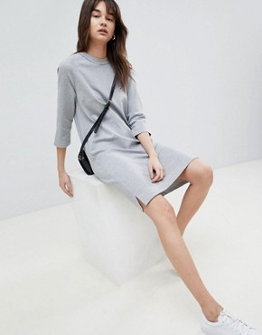 photo Sweatshirt Dress by Selected, color Grey - Image 1