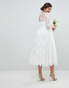 photo Lace Midi Prom Wedding Dress by ASOS EDITION Curve, color White - Image 2