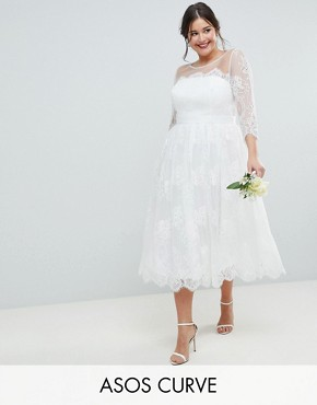 photo Lace Midi Prom Wedding Dress by ASOS EDITION Curve, color White - Image 1