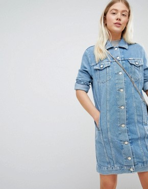photo Denim Trucker Dress by Wrangler, color Stone Wash - Image 1