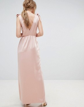 photo Tie Shoulder Plunge Maxi Dress by Silver Bloom, color Pink - Image 2