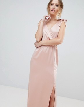 photo Tie Shoulder Plunge Maxi Dress by Silver Bloom, color Pink - Image 1