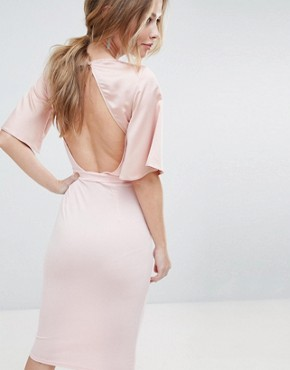 photo Wrap Front Midi Dress with Open Back and Tie by Silver Bloom, color Pink - Image 2